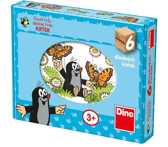 Kostky kubus Krtek dřevo 6ks v krabičce 18x13x4cm