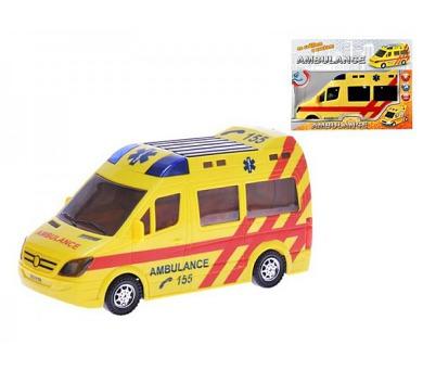 Auto Ambulance plast 21cm narážecí na baterie se světlem a zvukem v krabičce