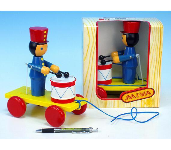 Voják s bubnem tahací dřevo 20cm v krabičce 12m+ + DOPRAVA ZDARMA