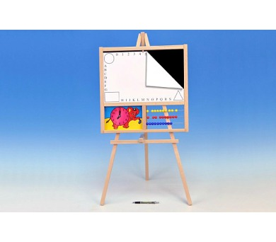 Tabule školní dřevo 88x44cm magnetická i pro psaní na fólii s počítadlem a hodinami v sáčku + DOPRAVA ZDARMA