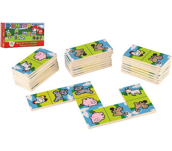 Domino Moje první zvířátka dřevo společenská hra 28ks v krabičce 17x9x3,5cm MPZ