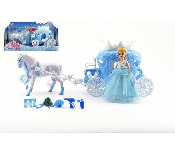 Kůň s kočárem + panenka s doplňky plast 40cm v krabici + DOPRAVA ZDARMA