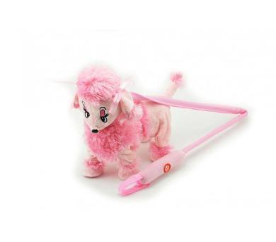Pes/pejsek Pudl na tyčce růžový chodící a hrající plyš na baterie 30cm + DOPRAVA ZDARMA