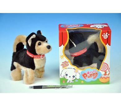 Pes chodící štěkající plyš 14cm na baterie v krabici + DOPRAVA ZDARMA
