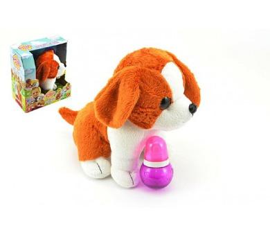Pes štěňátko interaktivní se zvukem plyš 23cm v krabici