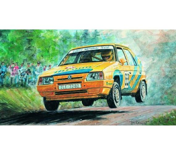 Model Kliklak Škoda Favorit Rallye 96 13,5x6,7cm v krabici 25x14,5x4,5cm