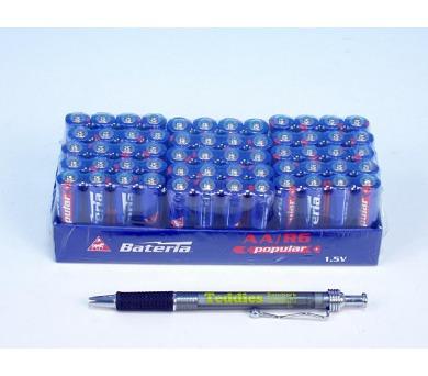 Baterie Popular R6/AA 1,5V 4ks ve folii 15ks v boxu zinkochloridové