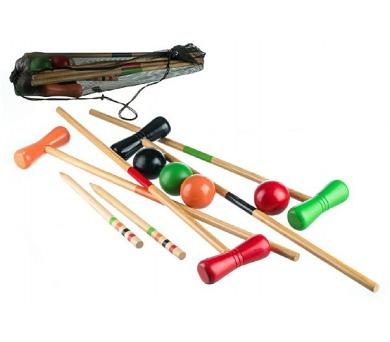 Kroket hra pro 4 hráče dřevo/kov v síťce 75x12x16cm