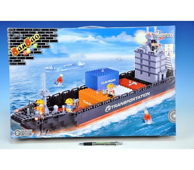 Stavebnice BanBao Loď nákladní 716ks + 4 figurky v krabici 52,5x35x7cm + DOPRAVA ZDARMA