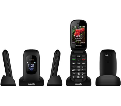 Mobilní telefon Aligator V600 Senior - černý/titanium