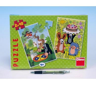 Puzzle Krtek Krtečkovy dobroty 18,1x26,4cm 2x48ks v krabici 27x19x3,5cm