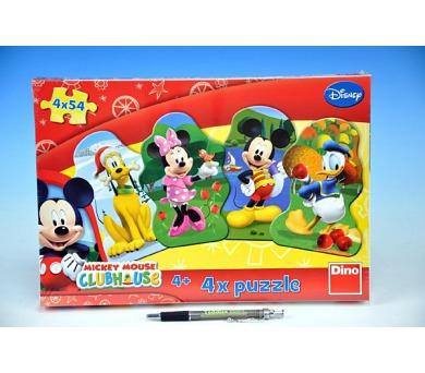 Puzzle Mickeyho klubík 4x54dílků v krabici