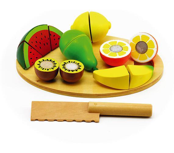 Ovoce krájecí s prkénkem dřevo 17ks 21,5x15x7cm v krabici 24m+