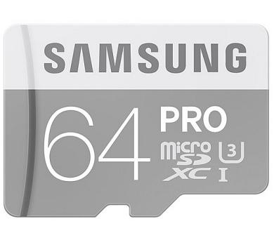 Samsung Micro SDXC PRO 64GB UHS-I U3 (90R/80W) + adapter + DOPRAVA ZDARMA