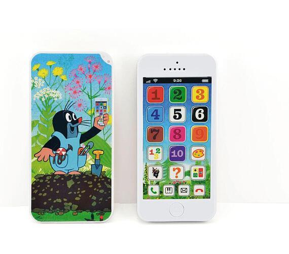 Krtkův naučný mobil telefon s krytem Krtek plast 13x6cm na baterie se zvukem v krabici od 12 měsíců