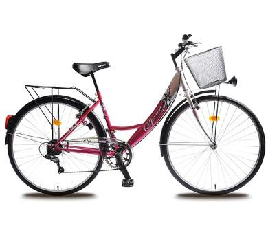 """kolo Olpran 2016 Jane Lux 28"""" dámské s bezpečnostními prvky - stříbrná/růžová"""