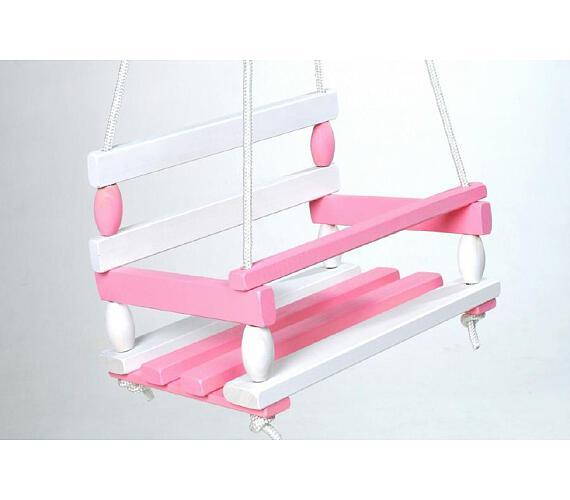 Houpačka dřevo bílo růžová 38x30cm nosnost 80kg v sáčku + DOPRAVA ZDARMA