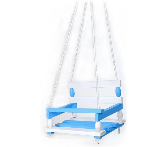 Houpačka dřevo bílo modrá 38x30cm nosnost 80kg v sáčku + DOPRAVA ZDARMA