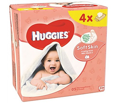 Ubrousky čistící HUGGIES® QUATRO Pack Soft Skin 4x56ks