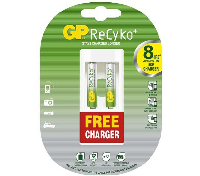GP ReCyko+ HR6 (AAA) + USB nabíječka ZDARMA
