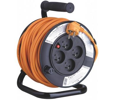 PVC prodlužovací kabel na bubnu - 4 zásuvky 25m SCHUKO 2,5mm