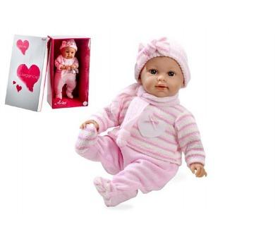 Panenka/miminko vonící 45cm růžové šaty měkké tělo plačící na baterie v krabici + DOPRAVA ZDARMA