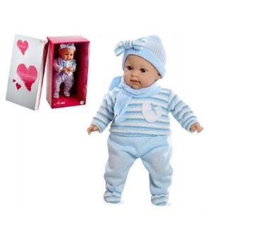 Panenka/miminko vonící 45cm modré šaty plačící měkké tělo na baterie v krabici + DOPRAVA ZDARMA