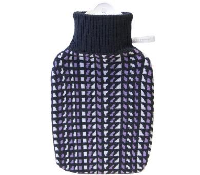 Termofor Hugo Frosch Classic s pleteným retro obalem – černá/levandulová