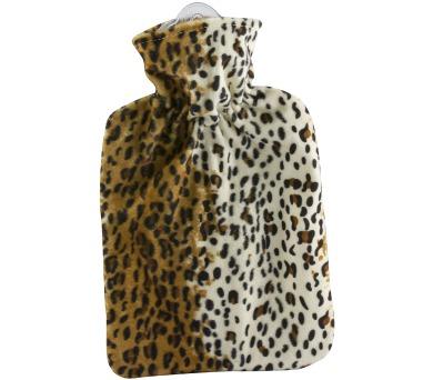 Termofor Hugo Frosch Classic s fleecovým leopardím obalem – uvnitř podšívka