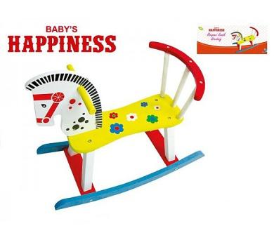 Koník houpací dřevěný 60x50x29cm Baby´s Happiness v krabičce + DOPRAVA ZDARMA