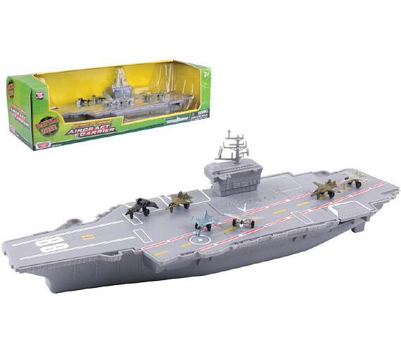 Letadlová loď plast 45cm na baterie se zvukem se světlem v krabici + DOPRAVA ZDARMA