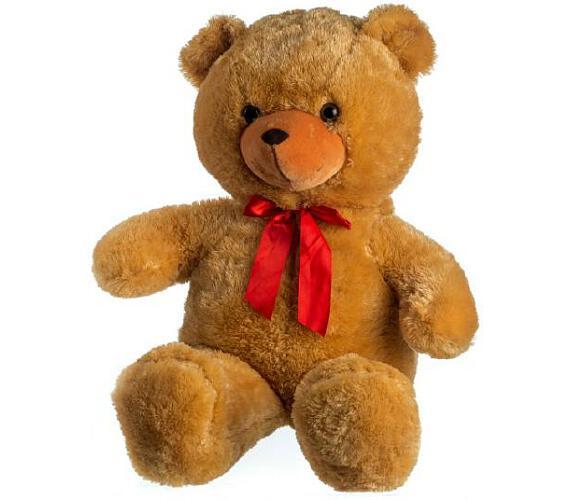 Medvěd plyš 100cm s mašlí světle hnědý hladký 0+ + DOPRAVA ZDARMA