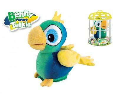 Papoušek Benny opakující slova 15cm v kleci plyš na baterie se zvukem + DOPRAVA ZDARMA