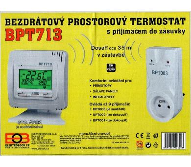 Bezdrátový digitální termostat BPT713 s přijímačem do zásuvky + DOPRAVA ZDARMA