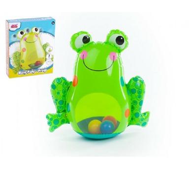 Žába nafukovací kývající se plnící vodou s míčky 46x43cm v krabici 6m+ + DOPRAVA ZDARMA