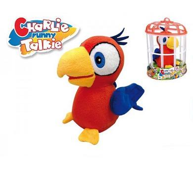 Papoušek Charlie opakující slova 15cm plyš na baterie se zvukem v kleci + DOPRAVA ZDARMA