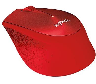 Logitech Wireless Mouse M330 Silent Plus / optická / 3 tlačítka / 1000dpi - červená
