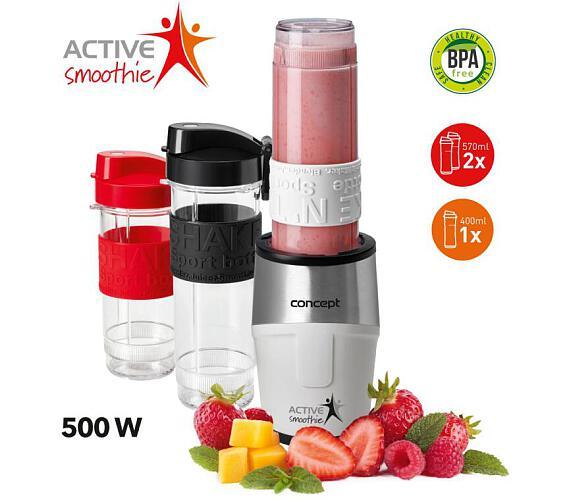 Concept SM3380 smoothie maker Active Smoothie 500 W bílý 2 x 570 ml + 400 ml + DOPRAVA ZDARMA