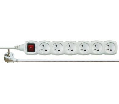 Prodlužovací kabel SCHUKO 6 zásuvek 2m 1,0mm s vypínačem