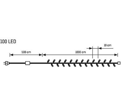 Světelný Led řetěz - 100 LED Massive 32094