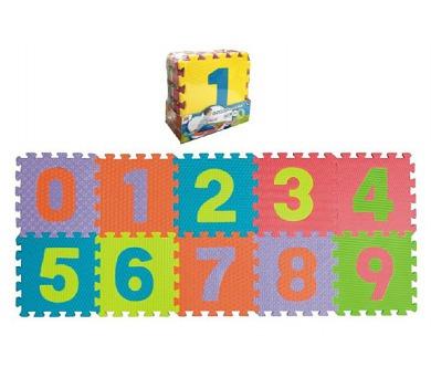 Pěnové puzzle čísla 0-9 podložka 25x25x1cm 10ks v sáčku + DOPRAVA ZDARMA