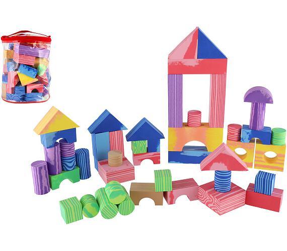 Kostky pěnové barevné měkké 60ks imitace dřeva v plastové tašce 23x28x23cm + DOPRAVA ZDARMA