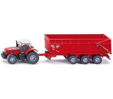 SIKU Farmer - Traktor Massey Ferguson s přívěsem