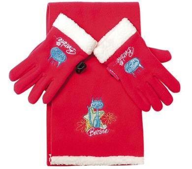 """Zimní soupr. rukavice + šála """"Barbie"""" LICENCE"""