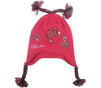 """Zimní čepice """"Barbie"""" ušanka tm. růžová LICENCE"""