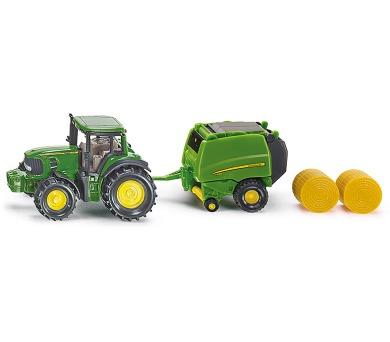 SIKU Blister - John Deere traktor s balíkovačkou