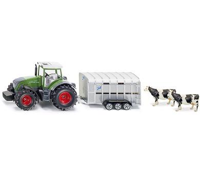 SIKU Super - Traktor John Deere s přívěsem pro přepravu dobytka vč. 2 krav + DOPRAVA ZDARMA