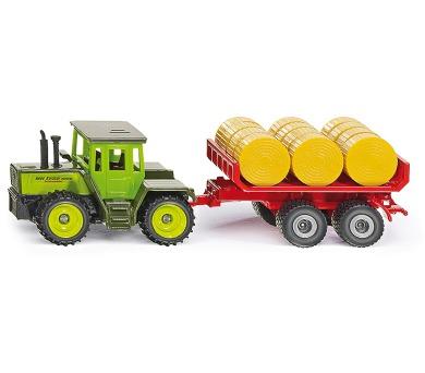 SIKU Super - MB traktor s vlekem a balíky slámy