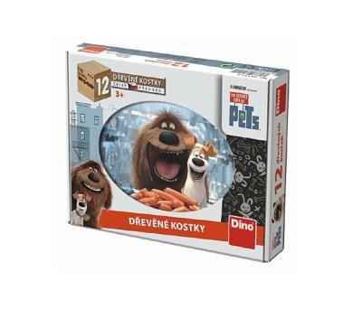 Kostky kubus Tajný život mazlíčků 12ks dřevo v krabičce
