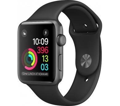 Apple Watch Series 1 42mm pouzdro z vesmírně šedého hliníku – černý sportovní řemínek
